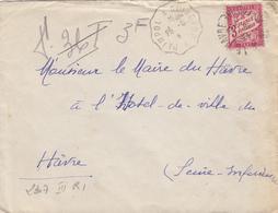 COTE DU NORD ET SEINE MARITIME 1942 PAIMPOL A GUINGAMP CONVOYEUR TAXE A LE HAVRE 3F SEUL - Storia Postale
