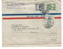 COVER CORREO COLOMBIA - VIA AIR MAIL - BOGOTA - TORINO - ITALIE. - Colombie