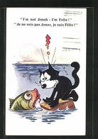 AK Comic-Figur Felix The Cat Unterhält Sich Mit Einem Fisch - Comicfiguren