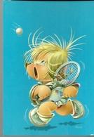 Niño Jugando A Tenis. Dibujo. - Tenis