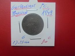 GOUVERNEMENT PROVISOIRE 5 CENT 1849 (A.3) - Temporary Coins