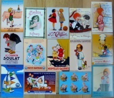Lot De 14 CPM Publicitaires : Enfants, Illustrateurs (Béatrice Mallet, Joë Bridge, Steinlen, Bickel, Redon, Vincent) - Publicidad