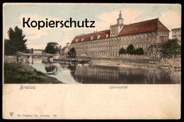 ALTE POSTKARTE BRESLAU UNIVERSITÄT Lastkähne Schiffe Ships University Wroclaw Brassel Schlesien Postcard Ansichtskarte - Schlesien