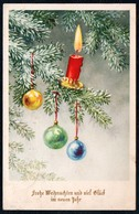 C9997 - Glückwunschkarte Weihnachten - Tannenzweig Kerze Baumkugel Baumbehang - Altri