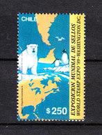 Cile   -  1989.  Orso Bianco, Pinguini, Carte Geografiche. Orso Bianco, Pinguini, Carte Geografiche. MNH - Preservare Le Regioni Polari E Ghiacciai