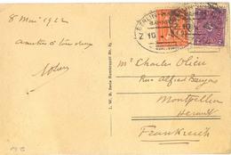 ALLEMAGNE TàD FERROVIAIRE  BERLIN-HANNOVER  BAHNPOST Du 8.5.22 CP Pour MONTPELLIER HERAULT - Storia Postale