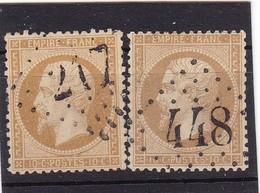 # Z.10828 France Empire 1862, 2 X Value 10c. Used, Yvert 21, Michel 20a: Emperor Napoleon III. - 1862 Napoleon III