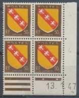 D - [204763]TB//**/Mnh-France N° 757-var, 50c Armoiries De Lorraine, Variété: Couleurs Décalées, Dans Un BD4 Cdf Daté 13 - Varieties: 1945-49 Mint/hinged