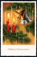 D0009 - TOP Glückwunschkarte Weihnachten - Tannenzweig Kerze Golddruck - JLM - Altri