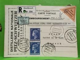 Entier Postaux, Distillerie Nationale Pitz-Schweitzer, Ettelbruck 1951. Refusé - Entiers Postaux