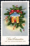 D0010 - Glückwunschkarte Weihnachten - Tannenzweig Kerze - FAKH - Altri