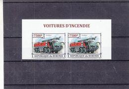 Voitures D'incendie - Pompiers - Burundi - COB 2518 ** - Paire NON Dentelé - Valeur 70 Euros - Vrachtwagens