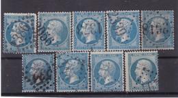 # Z.10829 France Empire 1862, 9 X Value 20c. Used, Yvert 22, Michel 21a,b: Emperor Napoleon III. - 1862 Napoleon III