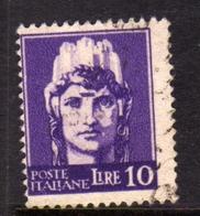 ITALIA REGNO ITALY KINGDOM LUOGOTENENZA REGENCY 1945 FILIGRANA RUOTA WHEEL WATERMARK LIRE 10 USATO USED OBLITERE' - 5. 1944-46 Lieutenance & Humbert II: