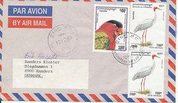 Cambodia Air Mail Cover Sent To Denmark 12-12-1998 Very Nice Franking BIRDS - Cambodia