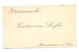 Visitekaartje - Carte Visite - Zusters Van Liefde - Molenaarstraat Gent - Cartes De Visite