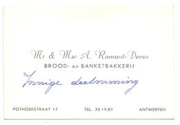 Visitekaartje - Carte Visite - Brood & Banketbakkerij Mr & Mw A. Ramaut - Devos - Antwerpen - Cartes De Visite