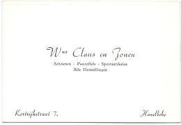 Visitekaartje - Carte Visite - Schoenen Pantoffels Wwe Claus & Zonen - Harelbeke - Cartes De Visite