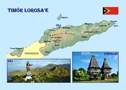 East Timor Country Map Timor Lorosa'e Postcard Osttimor Landkarte AK - East Timor