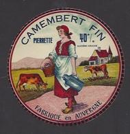 Etiquette Fromage Camembert  -  Pierrette  -   Fabriqué En Auvergne - Cheese