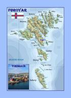 Faroe Islands Country Map Føroyar New Postcard Färöer Landkarte AK - Färöer