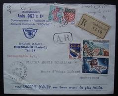 Thérouanne 1964 (Pas De Calais) Lettre Recommandée De André Gozé Engrais D'Auby Provimi Pour Courrières - Storia Postale
