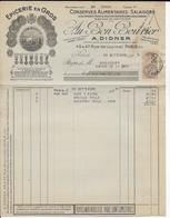"""1929 - FISCAL PERFORE """"AD"""" ! Sur RECU COMMERCIAL ILLUSTRE EPICERIE DIDNER à PARIS - Fiscale Zegels"""