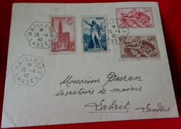MARCOPHILIE ENVELOPPE Timbre à Date De La Poste Rurale Au Type F4 De MAILLERES ( LANDES ) à LABRIT . 1942. TIMBRES - Marcophilie (Lettres)