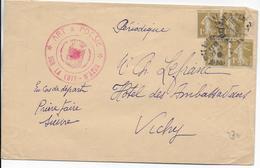 1940 - 1c SEMEUSE RARE SUR LETTRE De NICE NOTRE-DAME (ALPES MARITIMES) => VICHY - Marcophilie (Lettres)