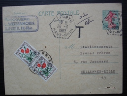 Illfurth Haut Rhin 1965 Droguerie Weisenhorn, Cachet Tireté Hexagonal Sur Carte Taxée Pour Helemmes Lille (Nord) - Postmark Collection (Covers)