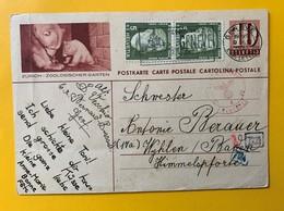9508 - Entier Postal Illustration Zurich Zoologischer Garten Genève 9.02.1945 Pour L'Allemagne Cachets Censure  !! Plis - Entiers Postaux