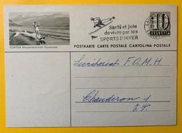 9508 - Entier Postal Illustration Gunten Wasserskischule Thunersee Lausanne 21.01.1959 - Interi Postali