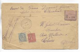 1906 - SEMEUSE + BLANC SUR LETTRE PAPIERS D'AFFAIRE RECOMMANDEE De LA BOURBOULE (PUY DE DOME) => THIERS - Postmark Collection (Covers)