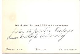 Visitekaartje - Carte Visite - Mr & Mme R. Naessens - Herman - Kruishoutem - Cartes De Visite