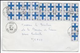 """1959 - SPECTACULAIRE AFFRANCHISSEMENT 10F ARMOIRIES """"MARSEILLE"""" Sur ENVELOPPE LOCALE GF De MEAUX (SEINE ET MARNE) - Storia Postale"""