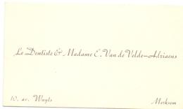 Visitekaartje - Carte Visite - Dentiste & Madame E. Van De Velde - Adriaens - Merksem - Cartes De Visite