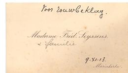 Visitekaartje - Carte Visite - Madame Fréd. Seyssens - Mariakerke - Cartes De Visite