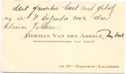 Visitekaartje - Carte Visite - Gemeentesecretaris Afsnee Herman Van Den Abeele - St Martens Latem - Cartes De Visite