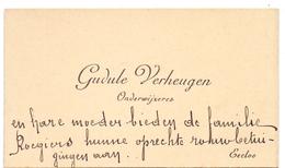 Visitekaartje - Carte Visite - Onderwijzeres Gudule Verheugen - Eecloo - Eeklo - Cartes De Visite