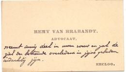 Visitekaartje - Carte Visite - Advocaat Remy Van Brabandt - Eecloo - Eeklo - Cartes De Visite