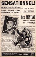 """YVES MONTAND - """" SENSATIONNEL """" - 1950 - PRESSE JOURNALISME - BELLE ILLUSTRATION ALAIN CARRIER - EXCELLENT ETAT - Música & Instrumentos"""