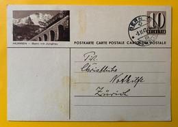9514 - Entier Postal Illustration Mürren Bahn Mit Jungfrau Bern 18 3.02.1947 - Entiers Postaux