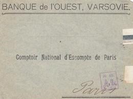 LETTRE RUSSIE. DEVANT. FRONT COVER RUSSIA.  BANQUE VARSOVIE POUR PARIS. CENSURE RUSSE - 1857-1916 Keizerrijk