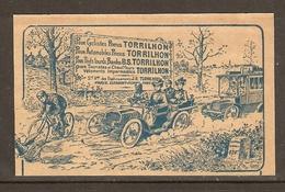 PUBLICITE 1906 1907 PNEUS TORRILHON Pour CYCLISTES AUTOMOBILES POIDS LOURDS - PARIS CLERMOND FERRAND - Auto's