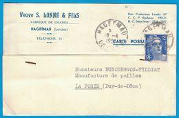 CARTE POSTALE  S. LONNE & FILS FABRIQUES DE CHAISES HAGETMAU LANDES 1951 A DUBOURGNON-FILLIAT LA FORIE PUY-DE-DOME - Publicités
