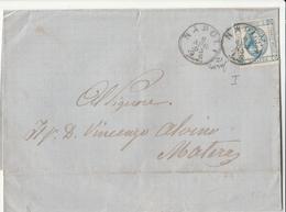 """Frontespizio  Da Napoli A Matera Affrancata Con 15 C. """" Effige Di Vittorio Emanuele II """"  Sassone N.12   I Tipo - 1861-78 Victor Emmanuel II."""