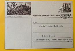 9519 - Entier Postal Illustration Neuchâtel Château Davos Dorf 31.03.1947 - Entiers Postaux