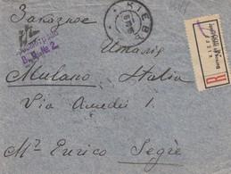 LETTRE RUSSIE. DEVANT. FRONT COVER RUSSIA.  6 10 1916.  RECOMMANDÉ KIEFF  POUR ITALIA. CENSURE RUSSE - 1857-1916 Empire
