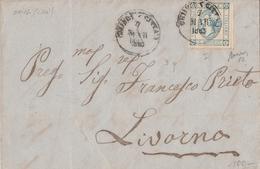 """Lettera Da Chiusi A Livorno  Affrancata Con 15 C. """" Effige Di Vittorio Emanuele II """"  Sassone N.12   I Tipo - 1861-78 Victor Emmanuel II."""