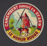 Etiquette Fromage Camembert Sans 45 %  -  Le Moulin Rouge -  Fabriqué En Béarn - Cheese